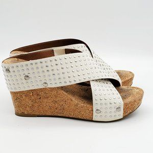 LUCKY BRAND white leather cork wedge sandals